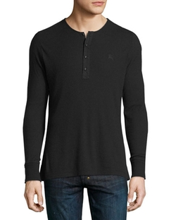 Cliffton Ribbed-Knit Henley T-Shirt by Burberry Brit  in Billions