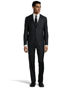 Black Wool 2-Button Suit With Flat Front Pants by Canali in The Blacklist