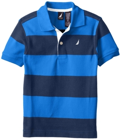 Boys Pique-Cotton Striped Polo Shirt by Nautica in Modern Family