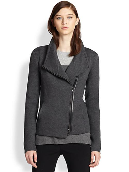 Leather-Trimmed Wool Biker-Style Cardigan Sweater by Vince in If I Stay