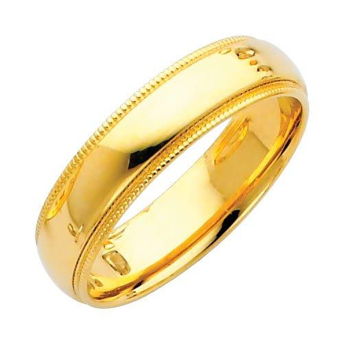14K Yellow Gold Comfort Fit Plain Milgrain Wedding Band Ring for Men by The World Jewelry Center in A Walk Among The Tombstones