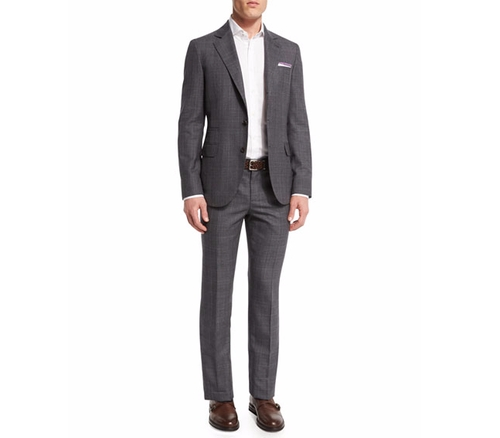 Plaid Wool Suit by Brunello Cucinelli in Empire