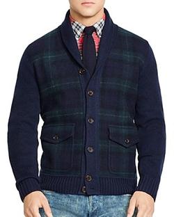 Tartan Shawl Cardigan Sweater by Polo Ralph Lauren in Black-ish