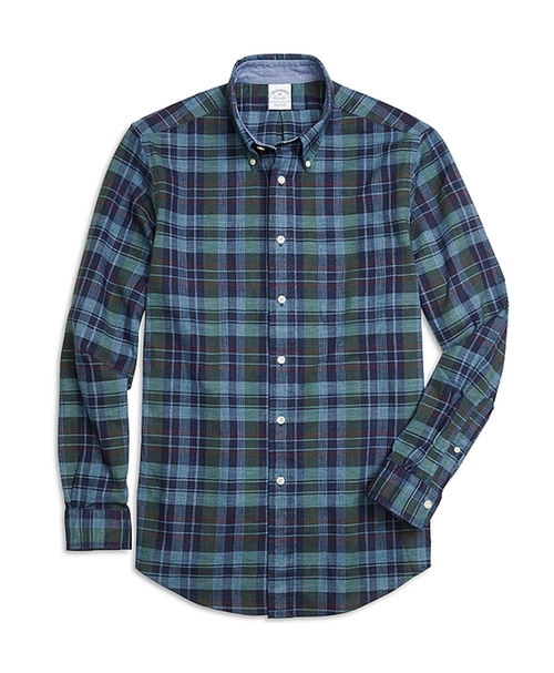 Regent Fit Plaid Sport Shirt by Brook Brothers in Ashby