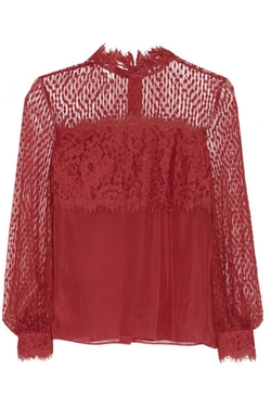 D'esprit Lace And Crepe De Chine Blouse by Temperley London in Nashville