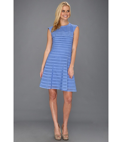 Cap Sleeve Flare Skirt Dress w/ Contrast Stripes by Halston Heritage in The Fault In Our Stars