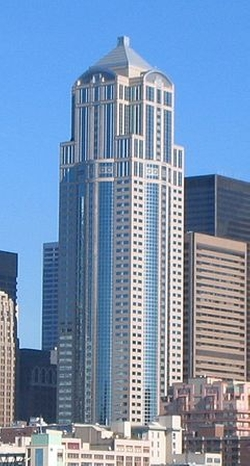 Seattle, Washington by 1201 Third Avenue Tower in Fifty Shades of Black