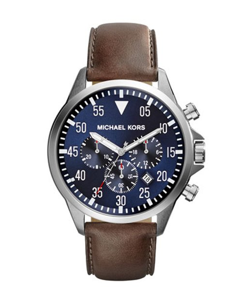 Oversize Tan Leather Gage Chronograph Watch by Michael Kors	 in Crazy, Stupid, Love.
