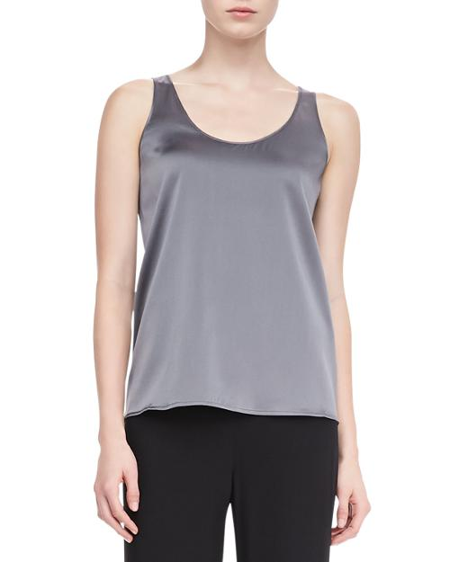 Charmeuse V-Neck Tank by Eileen Fisher in Fifty Shades of Grey