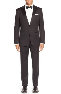 Trim Fit Wool Tuxedo Suit by Boss in Empire