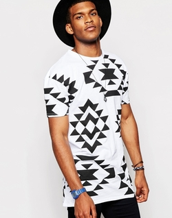 Geo-Tribal Print T-Shirt by Jaded London in Black-ish