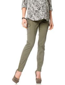 Twill Cargo Pockets Skinny Leg Maternity Pants by Secret Fit Belly in New Year's Eve