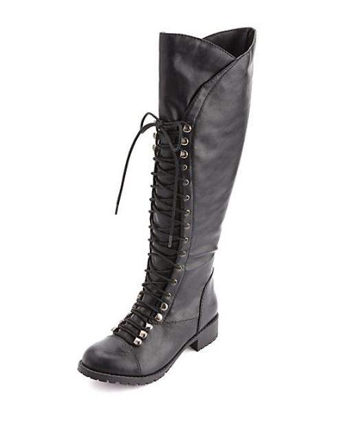 Soda Lace-up Knee-high Combat Boots by Charlotte Russe in The Wolverine