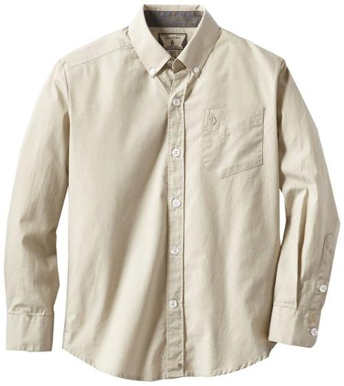 Big Boys' Why Factor Oxford Long Sleeve Youth Shirt by Volcom in Unbroken