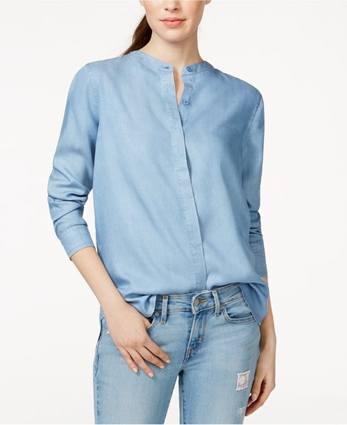 Mandarin-Collar Boyfriend Shirt by Levi's in Supergirl - Season 1 Episode 2
