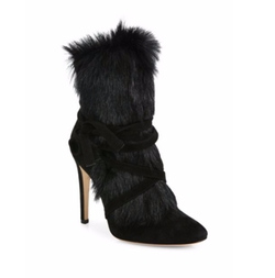 Shearling Fur & Suede Booties by Gianvito Rossi in Power