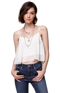 Crop Chiffon Flutter Tank by LA Hearts in Neighbors