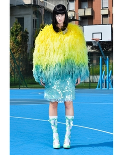 SS15 Feather Jacket by Daizy Shely in Scream Queens