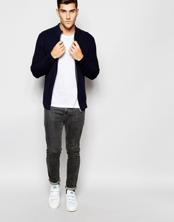 Ribbed Zip Up Knitted Cardigan by Selected Homme in Master of None