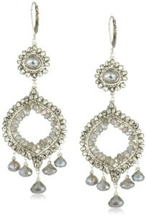 Stunning Double Drop Silver Pyrite and Labradorite Chandelier Earrings by Dana Kellin in Suits - Season 5 Episode 7