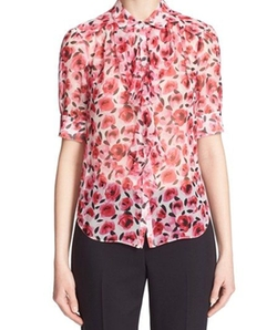 Rose Print Ruffle Silk Shirt by Kate Spade New York in Gilmore Girls: A Year in the Life