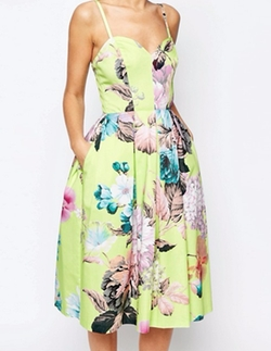 Lime Floral Bandeau Midi Prom Dress by Ason Salon in The Good Place