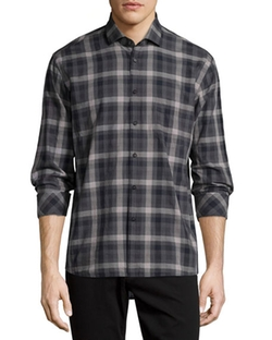 Plaid Long-Sleeve Oxford Shirt by Billy Reid in Quantico