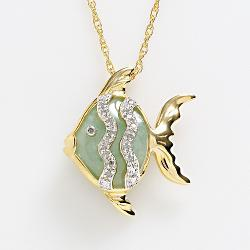 18k Gold Over Silver Jade & Diamond Accent Fish Pendant by Kohl's in Dolphin Tale 2