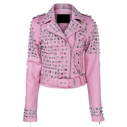 Spike Studded Studs Belted Genuine Leather Jacket by Bonanza in Jem and the Holograms
