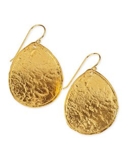 Hammered Gold Plate Teardrop Earrings by Nest Jewelry	 in Black or White
