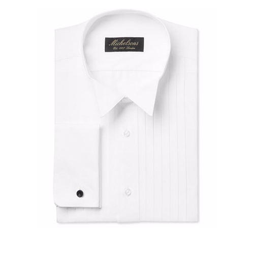 Pleated Point French Cuff Tuxedo Shirt by Michelsons in Fifty Shades Darker
