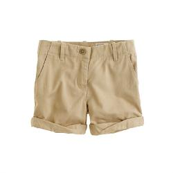 GIRLS' CUFFED CHINO SHORT by J. Crew in Blended