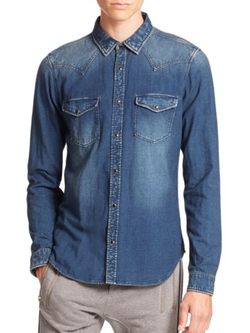 Denim Button-Front Shirt by The Kooples Sport in The Bachelorette