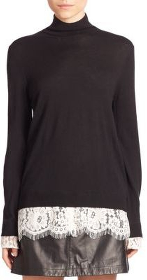 Fredrika Lace Trim Turtleneck Sweater by Joie in The Boss