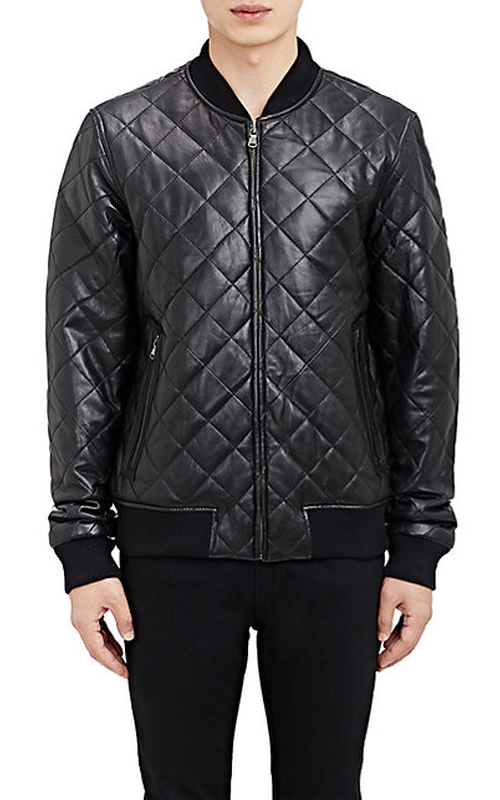 Quilted Leather Bomber Jacket by Barneys New York in She's Funny That Way