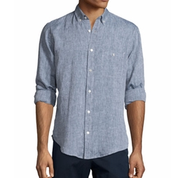 Linen Long-Sleeve Oxford Shirt by 7 For All Mankind in Scream Queens
