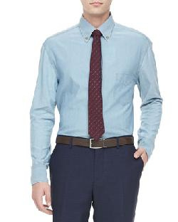 Chambray Button-Down Shirt, Blue by Brunello Cucinelli in Transcendence