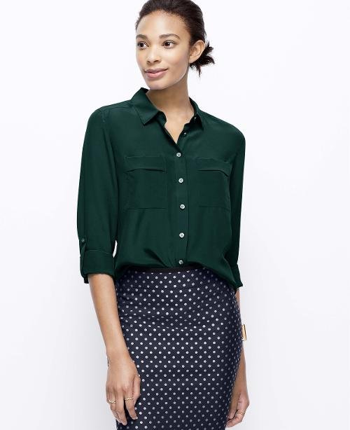 Tall Silk Camp Shirt by Ann Taylor in Gone Girl