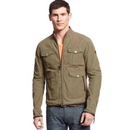 Khaki Leather-Trimmed Canvas Jacket by Armani Jeans in Ride Along 2