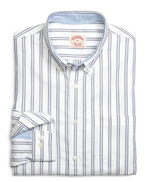Blue Double Stripe Oxford Sport Shirt by Brooks Brothers in Ride Along