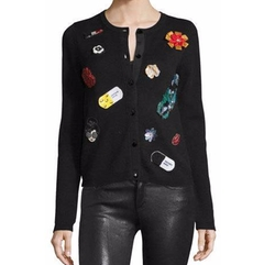 Cecila Embroidered-Patch Cardigan by Alice + Olivia in How To Get Away With Murder