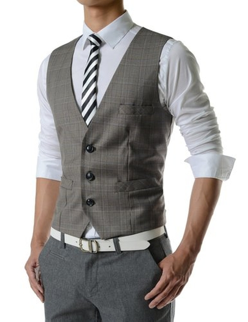 Slim Fit Chain Point 3 Button Vest by TheLees in The Blacklist