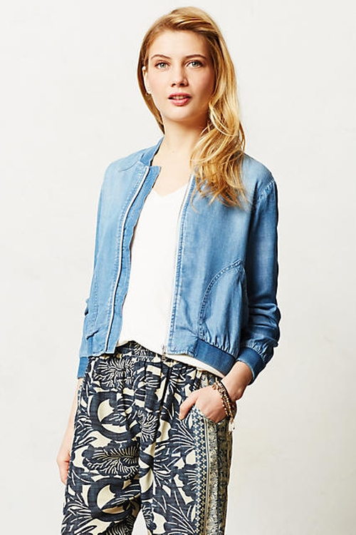 Chambray Bomber Jacket by Cloth & Stone in Unbreakable Kimmy Schmidt