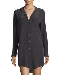 Kiera Long-Sleeve Silk Shirtdress by Equipment in Pretty Little Liars