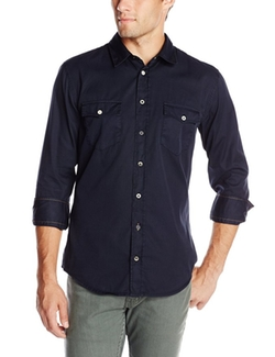 Men's Edaslime Navy Long Sleeve Shirt by Boss Orange in MacGyver