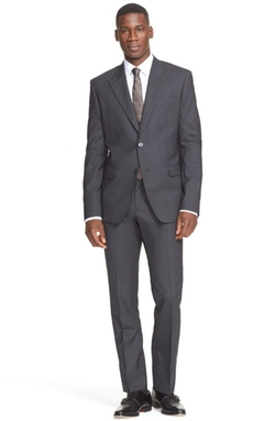 Trim Fit Solid Wool Suit by Versace Collection in The Walk