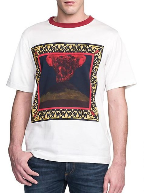Volcano Print Cotton Tee by Dolce & Gabbana in Empire