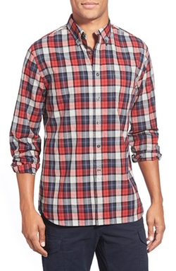'Heather Poplin' Trim Fit Tartan Plaid Sport Shirt by Grayers in Miss You Already