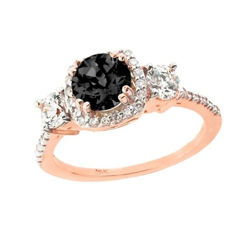 Black Diamond Engagement Ring by Birthstone Engagement Rings in The Overnight