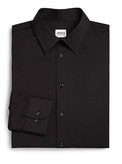 Slim-Fit Solid Cotton Dress Shirt by Armani Collezioni in John Wick